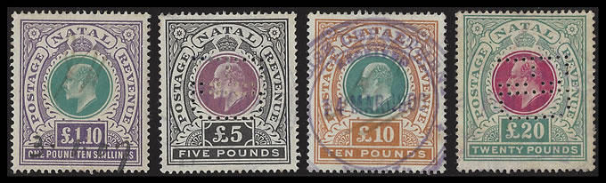NATAL REVENUES 1902 KEVII POSTAGE REVENUE HIGH VALS FISCAL USE