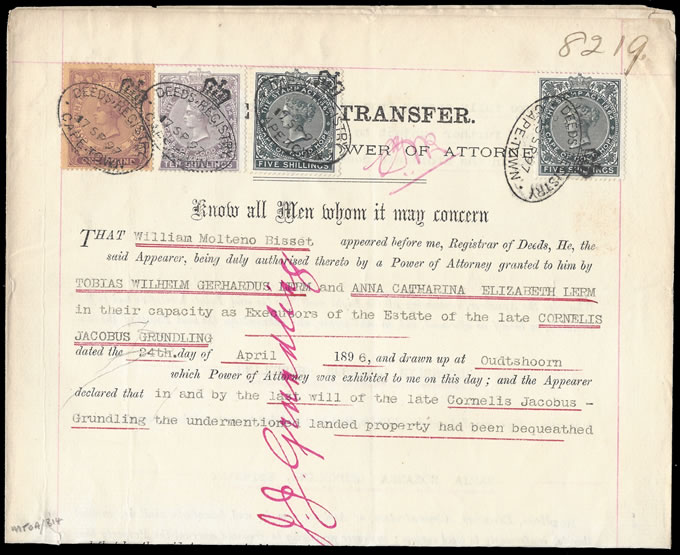 Cape of Good Hope 1897 Transfer Deed QV £1 with 5/- Blacks etc