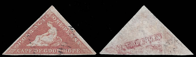 CAPE OF GOOD HOPE 1853 1D TRIANGLE WITH OFFSET, VF/U