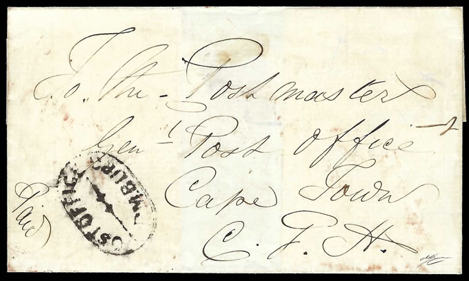 Natal 1856 POST OFFICE / PM BURG Oval on Letter, Rare