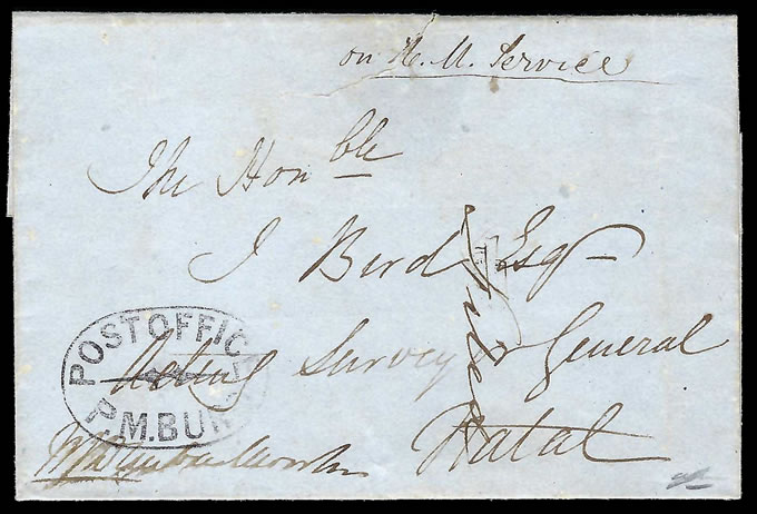 Natal 1852 POST OFFICE / PM BURG Oval on OHMS Letter, Rare