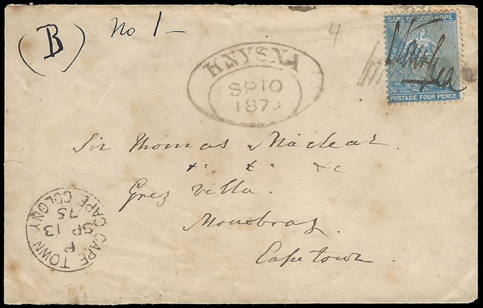 Cape of Good Hope 1876 Manuscript Cancellation