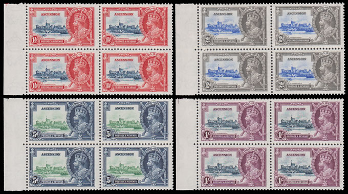 ASCENSION 1935 SILVER JUBILEE SET VF/UM BLOCKS OF FOUR