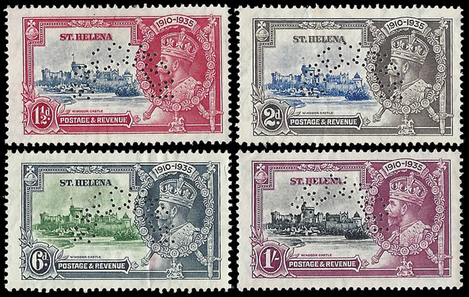 SAINT HELENA 1935 SILVER JUBILEE SET PERFORATED SPECIMEN VF/M