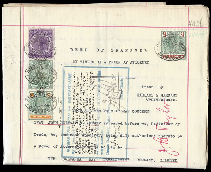 Cape of Good Hope 1908 Transfer Deed QV £10 Hope Standing £5 etc