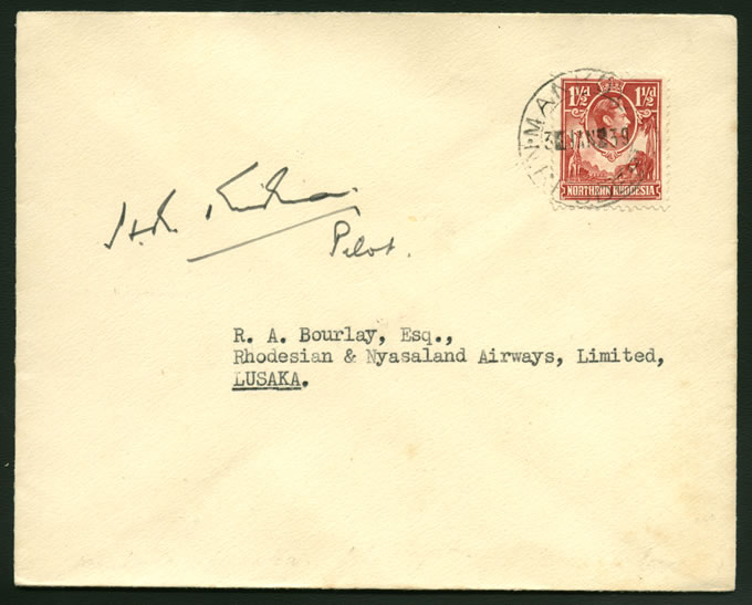 NORTHERN RHODESIA 1939 BAROTSELAND AIRMAILS FLIGHT COVER