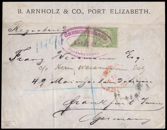 Transvaal 1891 Vurtheim 1/- Bisect on Registered Letter, Rare