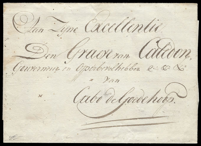 CAPE OF GOOD HOPE 1807 GOVERNOR'S LETTER TO EARL OF CALEDON