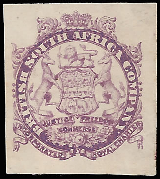 Rhodesia 1896 Large Arms Imperf Vignette Plate Proof, Mauve