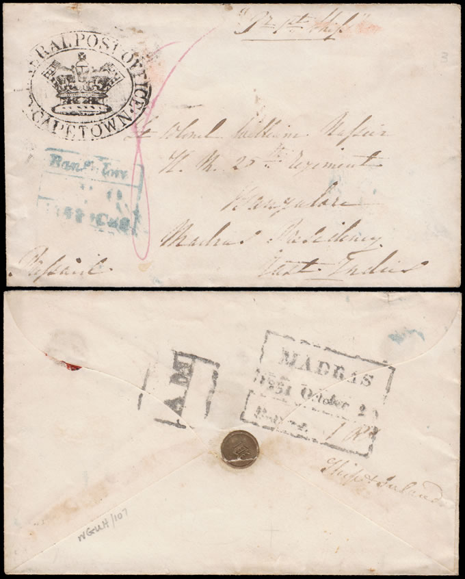 CAPE OF GOOD HOPE 1851 MILITARY MAIL LETTER TO INDIA