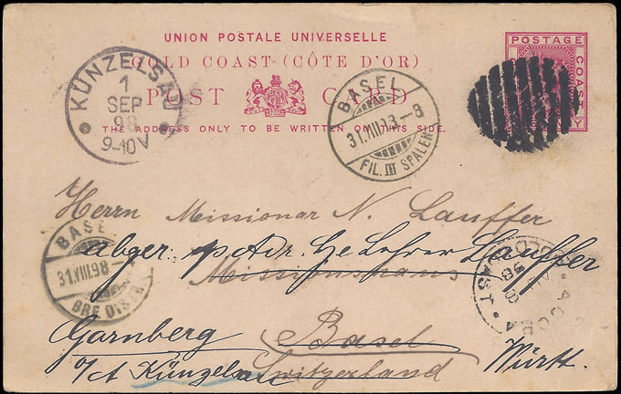 GOLD COAST 1898 POSTCARD VIA ACCRA TO SWITZERLAND