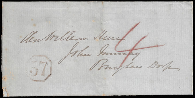 CAPE OF GOOD HOPE 1851 OCTAGONAL 57 STRUCK IN RED, RARE