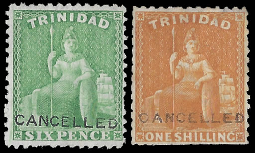TRINIDAD 1863-72 6D & 1/- DE LA RUE FILE SPECIMENS