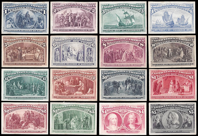 USA 1893 COLUMBIAN EXPO IMPERF PLATE PROOF SET, RARE