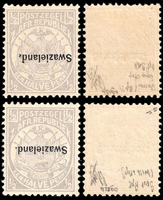 Swaziland 1894 ½d Official Re-Issues, Stop in Overprint