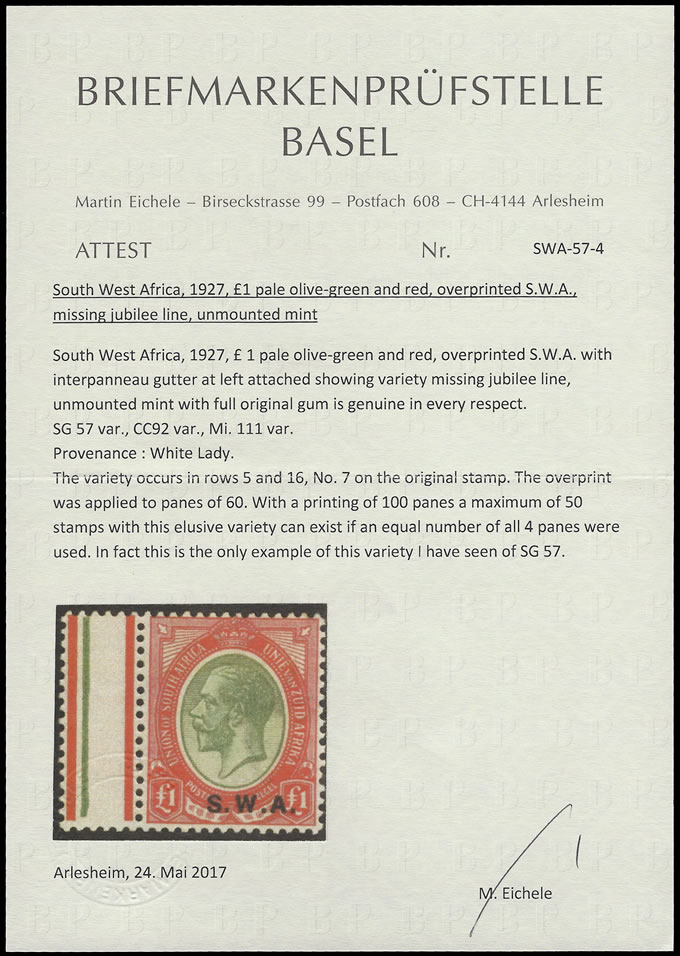 SOUTH WEST AFRICA 1927 KGV £1 MISSING JUBILEE LINE, RARE