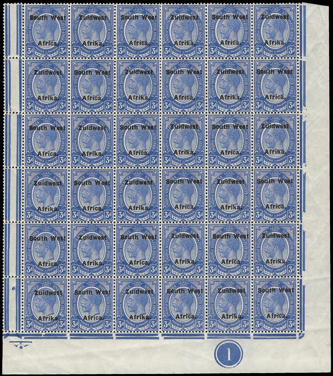SOUTH WEST AFRICA 1926 KGV 3D DEEP BLUE NO STOP AND JUBILEE