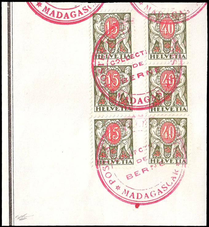 SWITZERLAND 1922 MADAGASCAR UPU ARCHIVE RECEIVING AUTHORITY