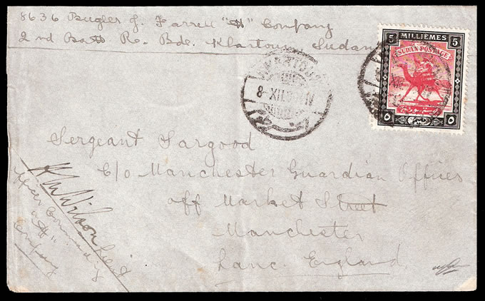 SUDAN 1904 RARE SOLDIERS LETTER RATE