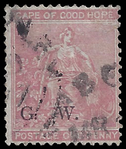 GRIQUALAND WEST 1877 SG2 1D USED, RARE STAMP