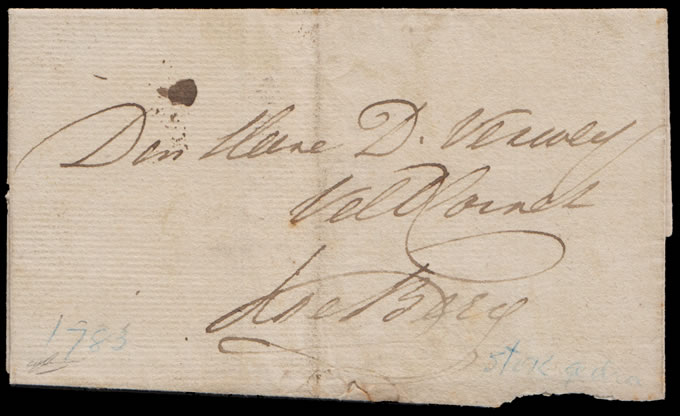 CAPE OF GOOD HOPE 1783 RARE BRIEFSTOK LETTER