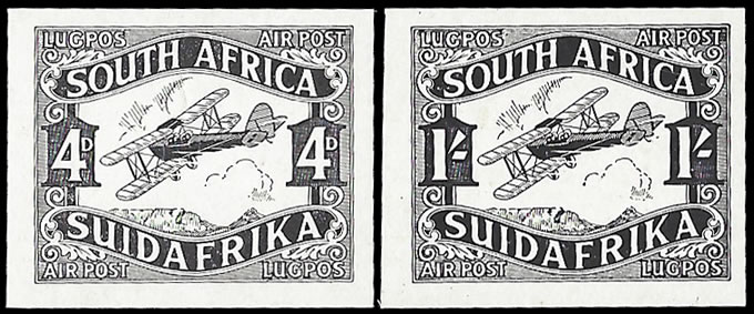 SOUTH AFRICA 1929 AIRMAILS 4D & 1/- PLATE PROOFS IN BLACK