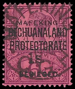 MAFEKING SIEGE 1900 SG14 1/- ON 6D PURPLE ON ROSE-RED VF/U