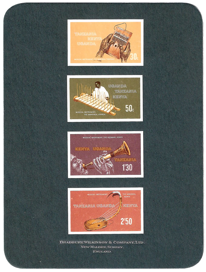 KUT 1970 MUSICAL INSTRUMENTS IMPERF PROOFS ON PRINTERS CARD