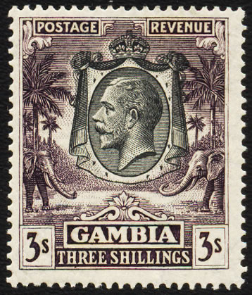 GAMBIA 1922 KGV 3/- SLATE-PURPLE VF/M, KEY STAMP