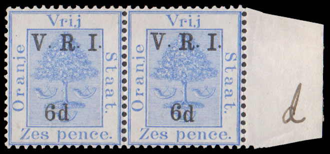"ORANGE FREE STATE 1900 VRI SG120 6D DROPPED ""d"" IN ""6d"" IN PAIR"