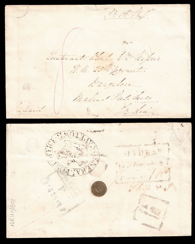 CAPE OF GOOD HOPE 1851 MILITARY LETTER TO INDIA