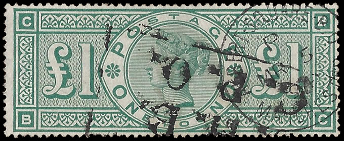 GREAT BRITAIN 1891 QV £1 GREEN F/U EXAMPLE