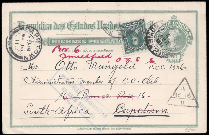"South Africa 1911 Cape ""Twenty Stamp"" Mark on Redirected Card"