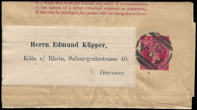 NATAL 1902 SUPERB POA 51 ON NEWSPAPER WRAPPER TO GERMANY