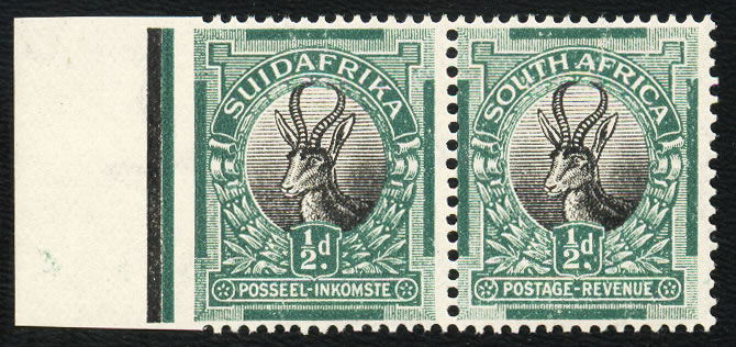 SOUTH AFRICA 1926 ½D IMPERF AT LEFT MARGIN VF/M/UM, RARE