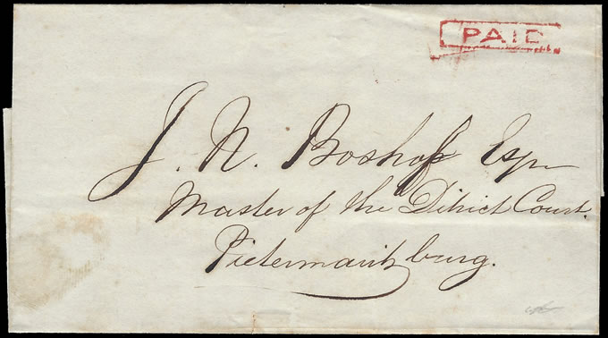 Natal 1852 PAID Mark of Durban on Letter, Rarity!
