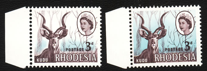 RHODESIA 1966 3D KUDU PALE BLUE ALMOST MISSING