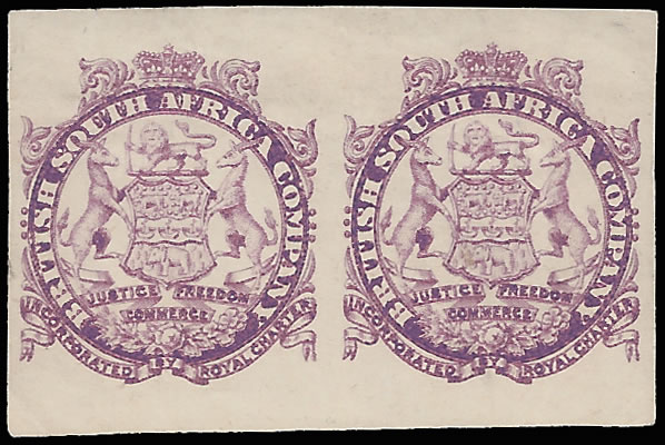 Rhodesia 1896 Large Arms Imperf Vignette Plate Proof Pair