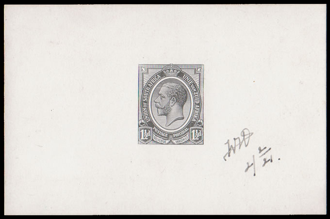 "SOUTH AFRICA 1920 KGV 1½D DIE PROOF FROM ""SOFT"" DIE"