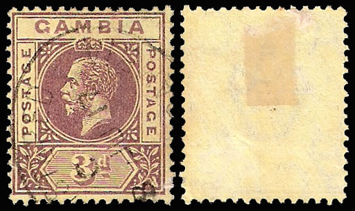 "GAMBIA 1912 3D VF/U WITH SPLIT ""A"" VARIETY"