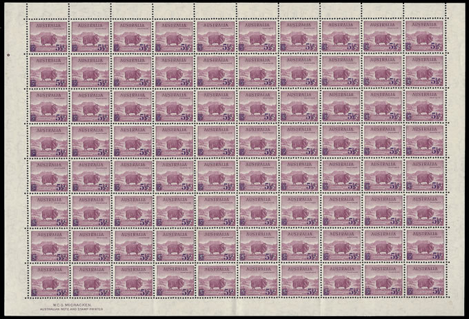 AUSTRALIA 1941 5½D ON 5D MERINO RAM FULL SHEET UM