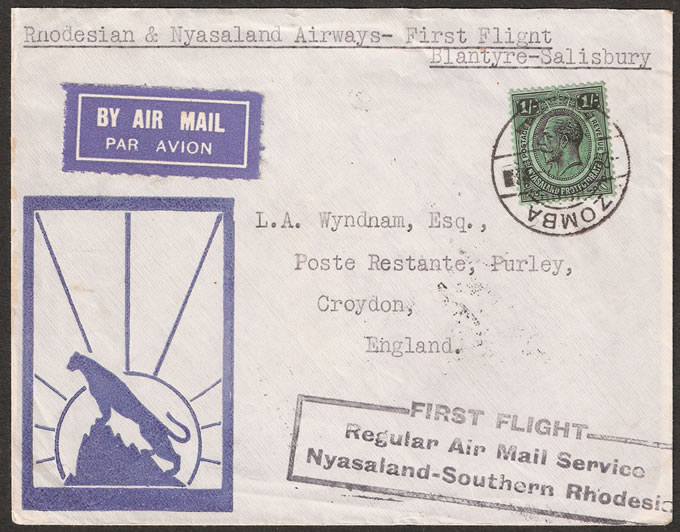 Nyasaland 1934 First Flight Blantyre to Salisbury