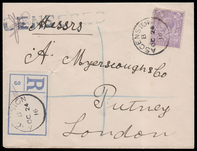 "ASCENSION 1916 GB KGV 3D ON ""CENSORED"" REGISTERED LETTER"