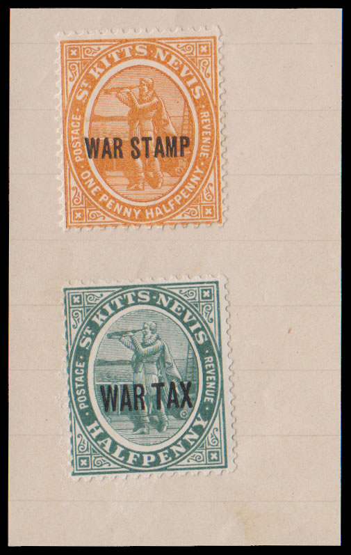 Saint Kitts-Nevis 1916 War Tax ex Tunisian Receiving Authority