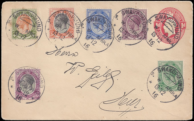 South West Africa 1916 SA KGV Stationery, Stamps Swakopmund