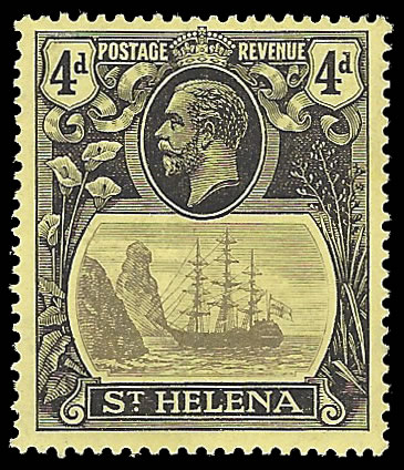 SAINT HELENA 1922 BADGE ISSUE 4D BROKEN MAINMAST VF/M