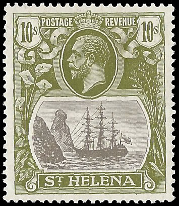 SAINT HELENA 1922 BADGE ISSUE 10/- TORN FLAG VF/M, RARE
