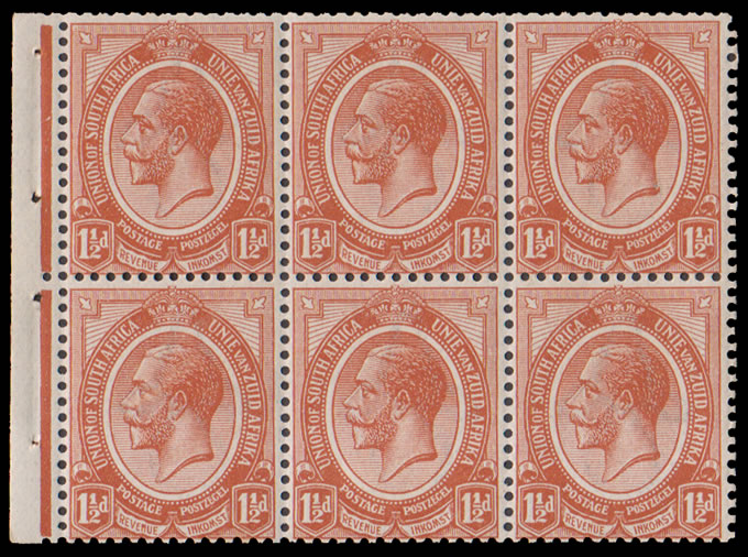 South Africa 1913 KGV 1½d Booklet Pane UM , Inverted Wmk