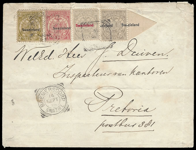 SWAZILAND 1894 ½D GREY OVPT MISPLACED, SPECTACULAR COVER