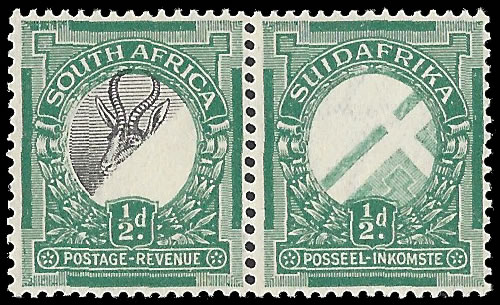 SOUTH AFRICA 1926 ½D CENTRE OMITTED, DIAGONAL OFFSETS